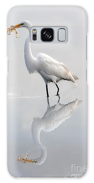 Galaxy Case featuring the photograph Great Egret With Lunch by Dan Friend