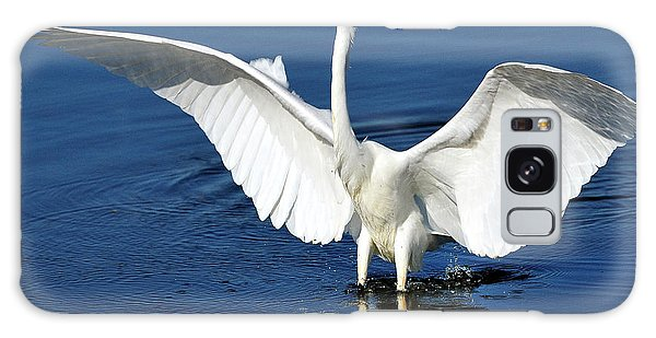 Great White Egret Spreading Its Wings Galaxy Case