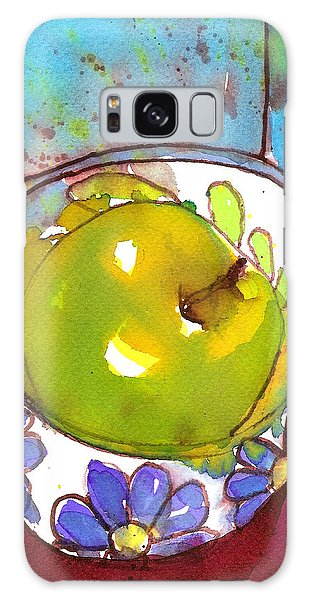 Green Apple In Blue Floral Bowl Galaxy Case