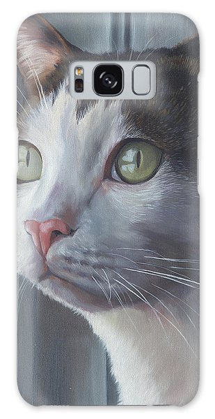 Green Eyed Cat Galaxy Case
