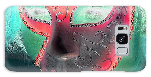 Green Girl With Red Mask Galaxy Case