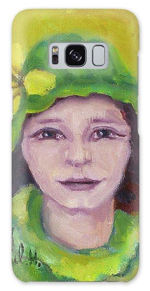 Green Hat Face Galaxy Case by Rachel Hershkovitz