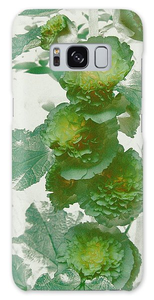 Green Hollyhocks Galaxy Case