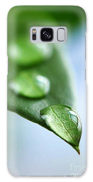 Leaf Galaxy Case - Green Leaf With Water Drops by Elena Elisseeva