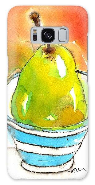 Green Pear In Blue Striped Bowl Galaxy Case