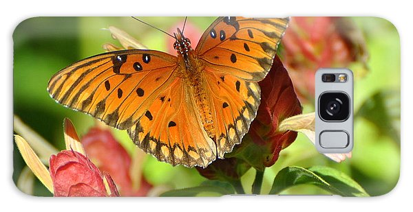 Gulf Fritillary Butterfly On Flower Galaxy Case