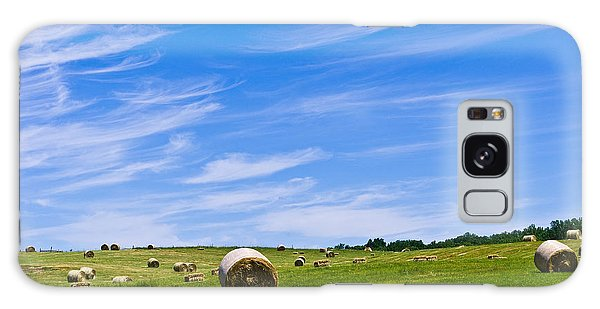 Hay Bales Under Brilliant Blue Sky Galaxy Case