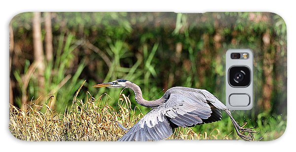 Heron Flying Along The River Bank Galaxy Case
