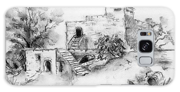 Hirbe Landscape In Afek Black And White Old Building Ruins Trees Bricks And Stairs Galaxy Case
