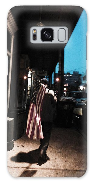Homeless Man Carrying American Flag In New Orleans Galaxy Case