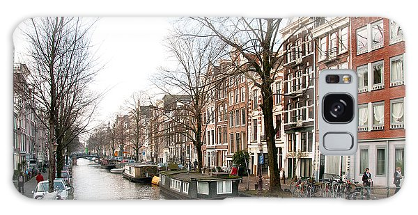 Homes Along The Canal In Amsterdam Galaxy Case by Carol Ailles