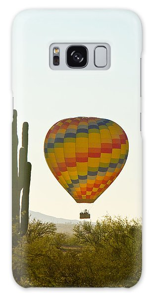 Hot Air Balloon In The Arizona Desert With Giant Saguaro Cactus Galaxy Case