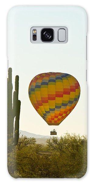 Hot Air Balloon In The Arizona Desert With Giant Saguaro Cactus Galaxy Case