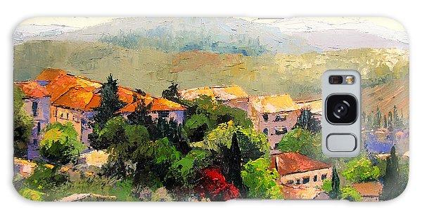 Italian Hillside Village Oil Painting Galaxy Case