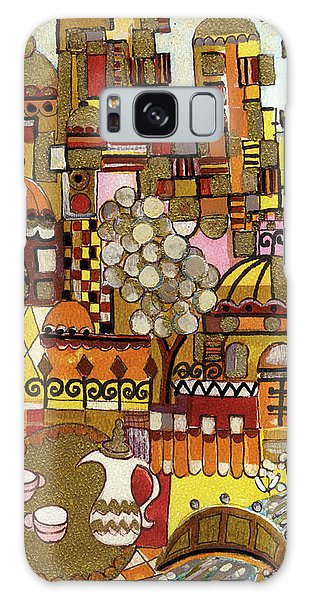 Jerusalem Alleys Tall 5  In Red Yellow Brown Orange Green And White Abstract Skyline Landscape   Galaxy Case