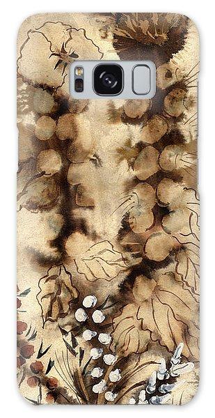 Kotsim Thorny Desert Plants In Brown Flowers Leaves Monochrome White   Galaxy Case