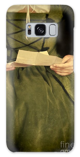 Paper Dress Galaxy Case - Lady In Renaissance Gown With Letter by Jill Battaglia