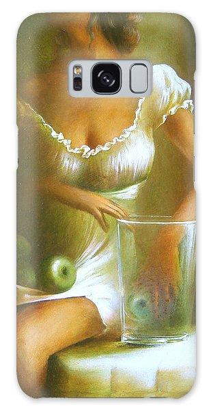 Lady With Green Apples Galaxy Case by Vali Irina Ciobanu