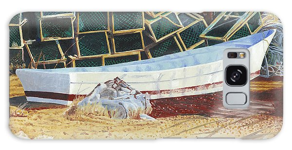 Galaxy Case featuring the painting Lobster Traps And Dory by Dominic White