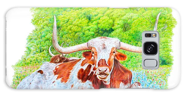 Longhorns In Bluebonnets Galaxy Case