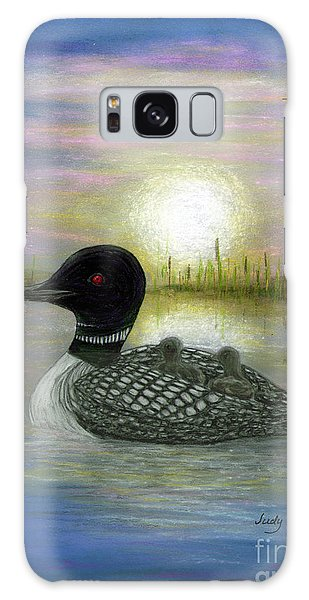 Loon Babies On Mother's Back Judy Filarecki Galaxy Case by Judy Filarecki