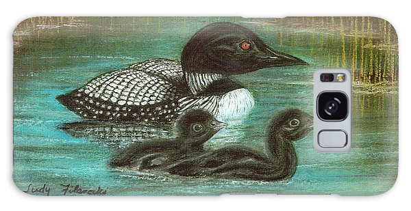 Loon Babies With Mother Judy Filarecki Pastel Painting Galaxy Case