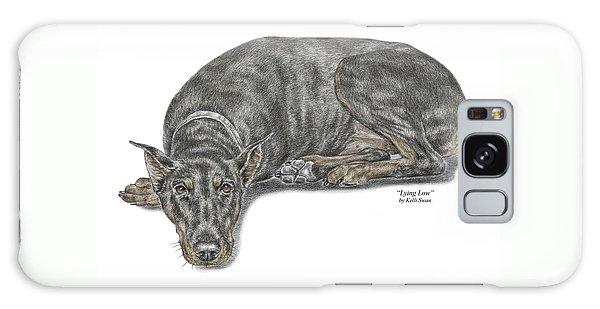 Lying Low - Doberman Pinscher Dog Print Color Tinted Galaxy Case by Kelli Swan