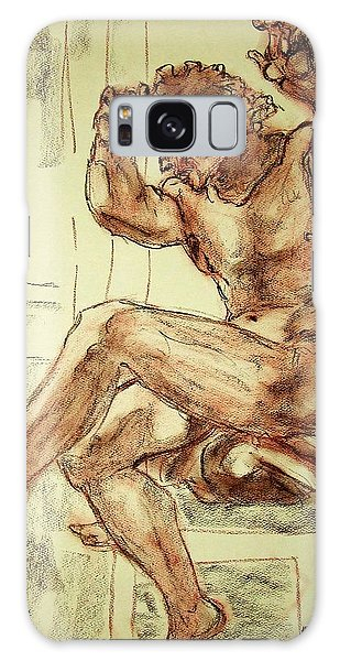Male Nude Figure Drawing Sketch With Power Dynamics Struggle Angst Fear And Trepidation In Charcoal Galaxy Case
