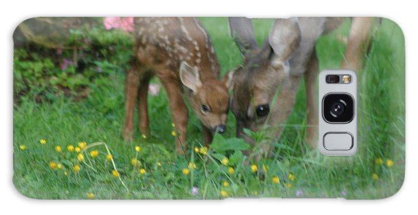 Mama And Spotted Baby Fawn Galaxy Case by Kym Backland