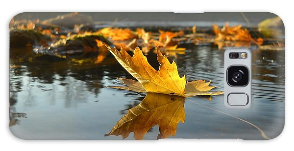 Maple Leaf Floating In River Galaxy Case by Kent Lorentzen