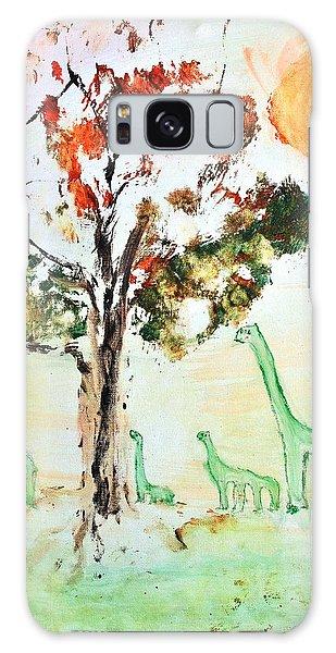Matei's Dinosaurs Galaxy Case by Evelina Popilian