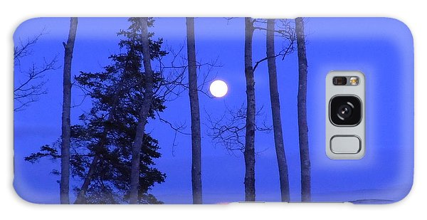 May Moon Through Birches Galaxy Case