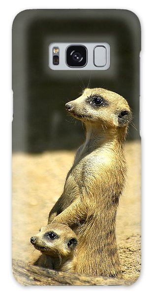Galaxy Case featuring the photograph Meerkat Mother And Baby by Carolyn Marshall