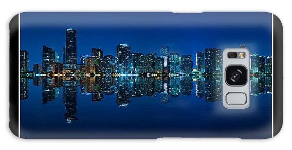 Miami Skyline Night Panorama Galaxy Case by Carsten Reisinger