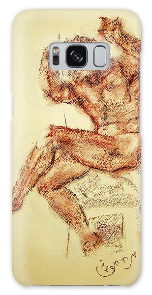 Michelangelo Sketch In Terra Cotta Chalk Drawing On Textured Paper Of Nude Male Sistine Chapel Galaxy Case