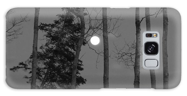 Moon Birches Black And White Galaxy Case