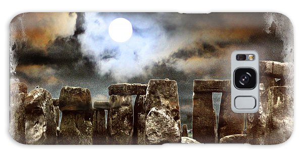 Moon Over Stonehenge Galaxy Case