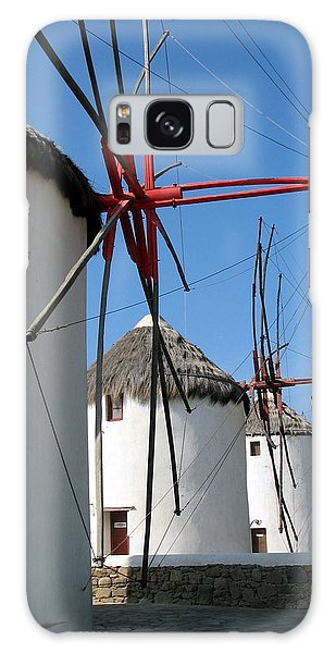 Mykonos Windmills Galaxy Case by Carla Parris