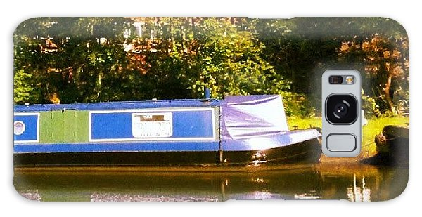 Summer Galaxy Case - Narrowboat In Blue by Isabella Shores