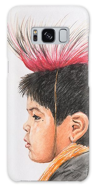 Native American Boy With Headdress Galaxy Case