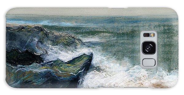 Nature Beach Landscape Of Sea In Storm Blue Green Water White Wave Breaks On Rock Clouds In Sky  Galaxy Case by Rachel Hershkovitz