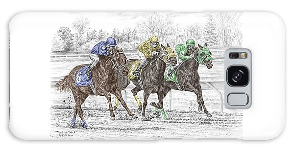 Neck And Neck - Horse Race Print Color Tinted Galaxy Case by Kelli Swan