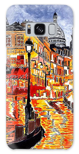 Nighttime In Paris Galaxy Case by Connie Valasco