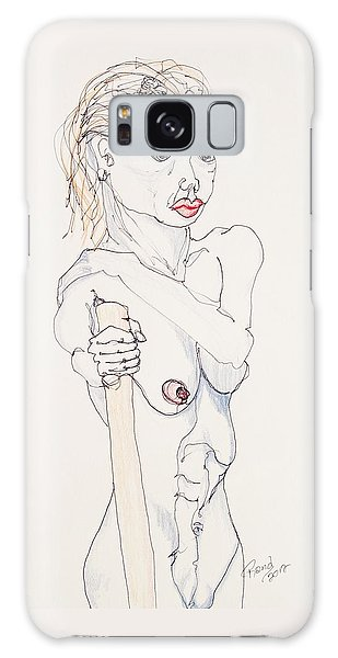 Nude With Walking Stick Galaxy Case by Rand Swift