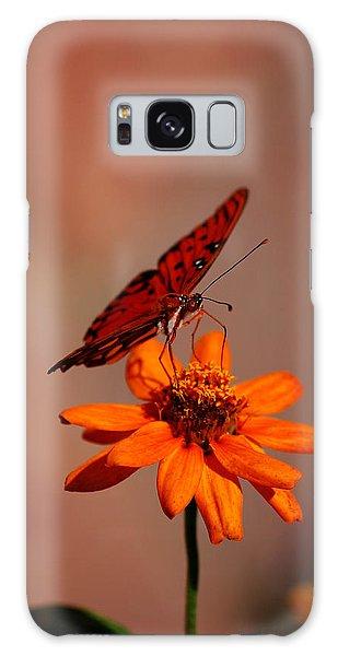 Orange Butterfly Orange Flower Galaxy Case by Lori Tambakis