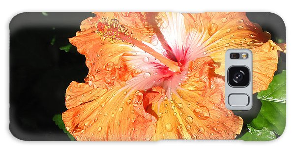 Orange Hibiscus After The Rain 1 Galaxy Case by Connie Fox