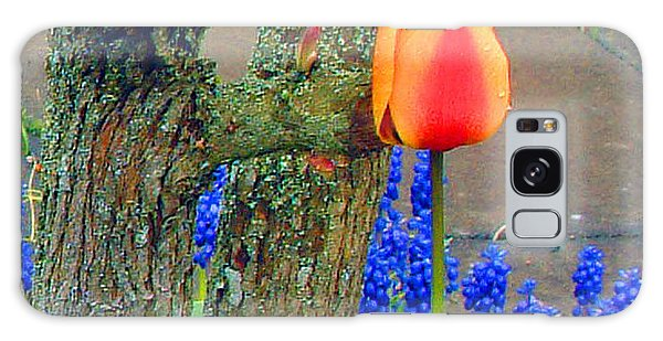 Orange Tulip And Bluebells Galaxy Case by Richard James Digance
