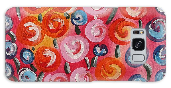 Original Modern Impasto Flowers Painting  Galaxy Case