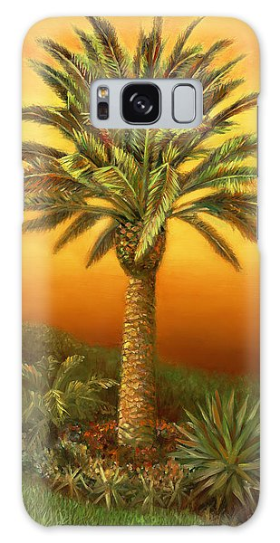 Palm Tree At Dusk In Rust Galaxy Case by Nancy Tilles