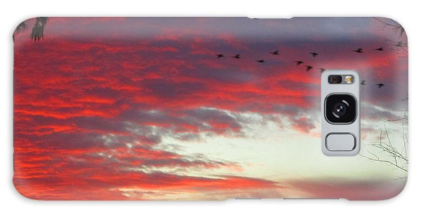 Papaya Colored Sunset With Geese Galaxy Case by Kym Backland